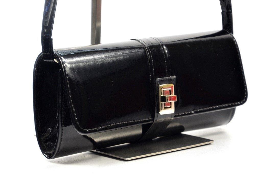 ba059889f3115 TOREBKA kopertówka wizytowa czarna lakier - Torebki wieczorowe