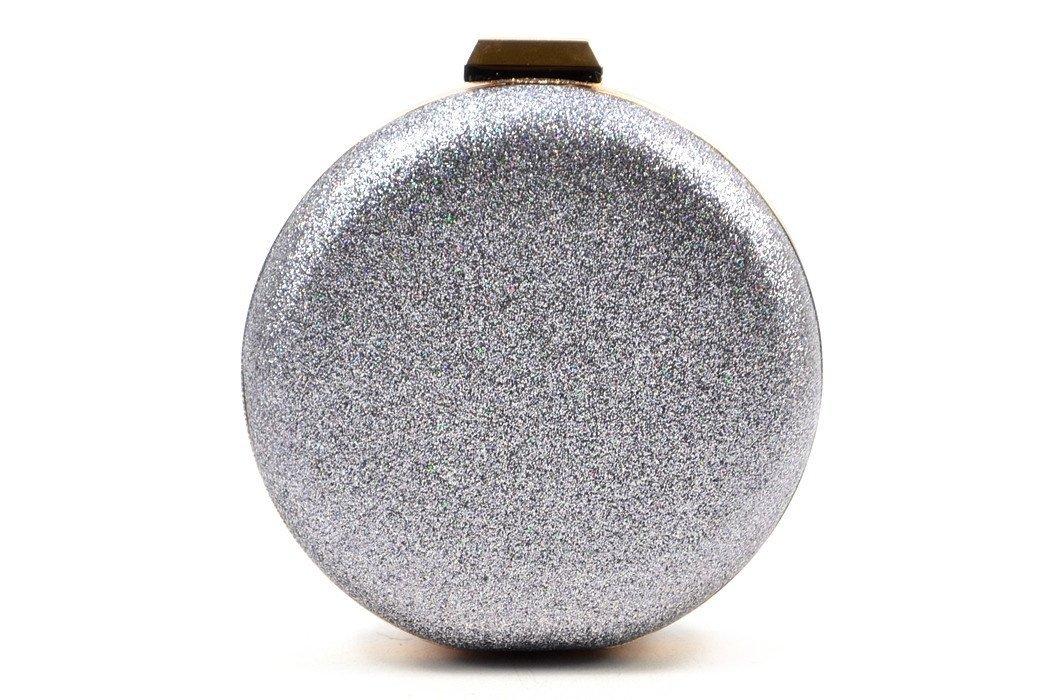 3c6f9cd5a5792 TOREBKA wizytowa kopertówka srebrna BESTINI brokat opalizująca