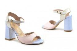 Sandałki 38 słupek OLEKSY 2692 skóra różowe niebieskie perłowe