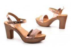 Sandały 36 EVA FRUTOS 5896 różowe metaliczne hiszpańskie