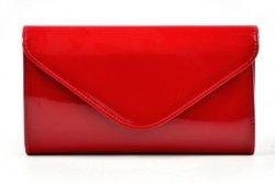TOREBKA kopertówka ciemna czerwona lakier wizytowa