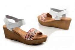 Sandały 36 koturn EVA FRUTOS 9449 białe hiszpańskie
