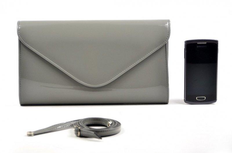 TOREBKA kopertówka wizytowa lakier ciemna szara