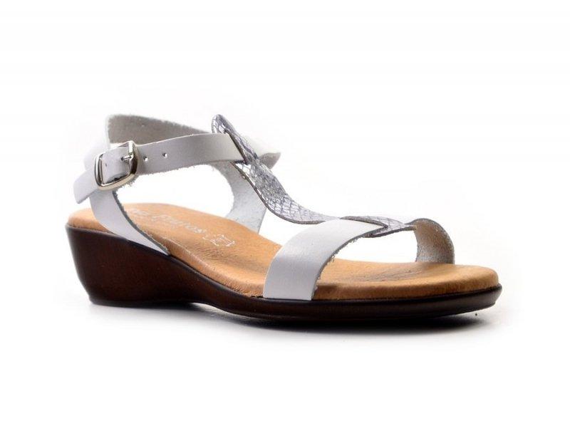Sandałki 39 EVA FRUTOS 5349 białe srebrne brąz beż
