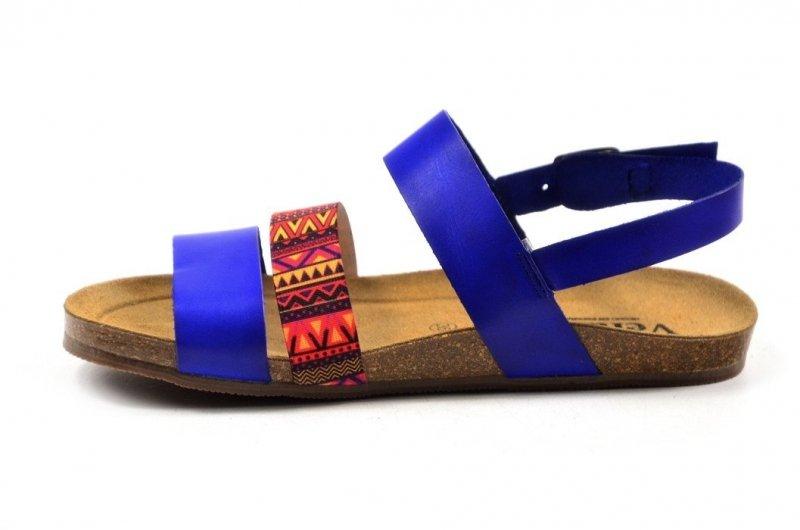 Sandały 40 skóra VERANO 2848 niebieskie chaber kolorowe paski