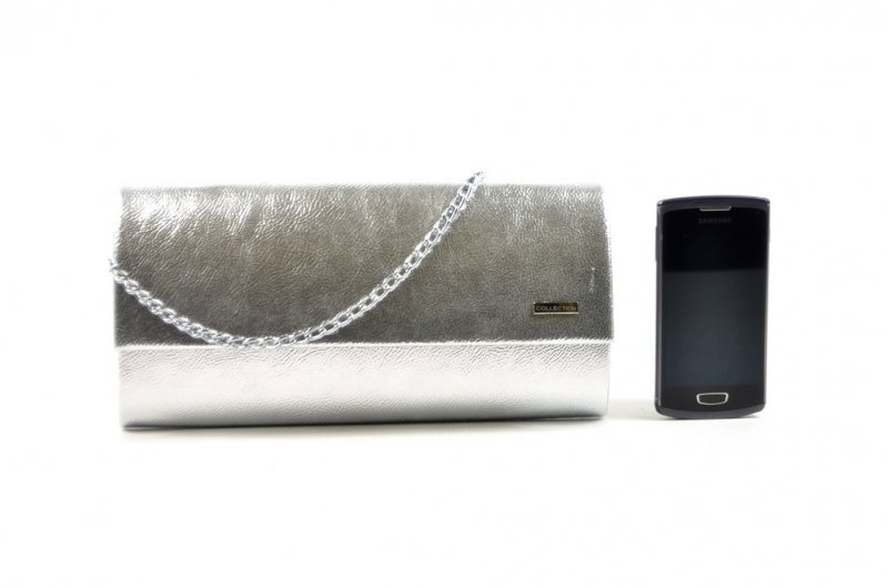 TOREBKA kopertówka wizytowa srebrna metaliczna