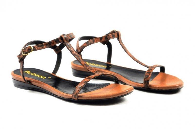 Sandałki 37 ROBSON 320 skórzane rude panterka