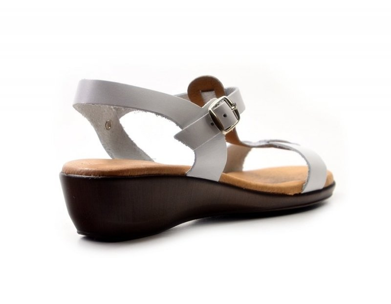 Sandałki 37 EVA FRUTOS 5349 białe srebrne brąz beż