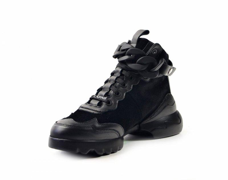 Półbuty 40 sneakersy Carinii B7607 skóra czarne