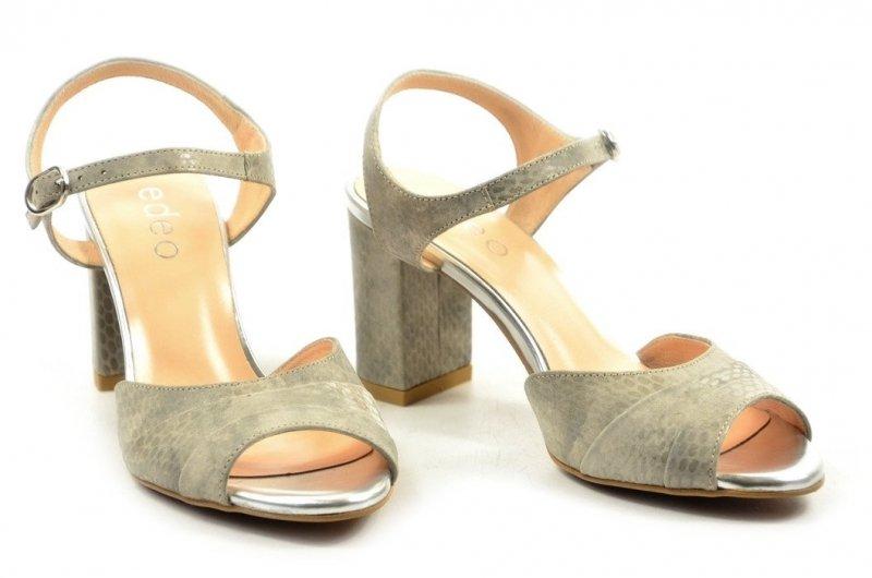 Sandałki 36 słupek EDEO skóra srebrne szare
