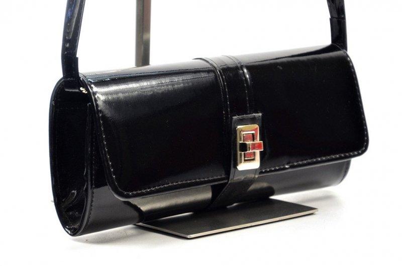 TOREBKA kopertówka wizytowa czarna lakier