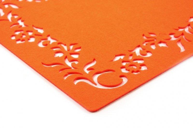 Mata podkładka na stół 40x30 pomarańczowa filcowa ażur