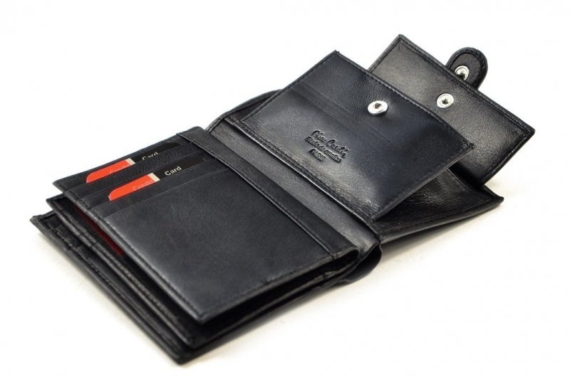 Zestaw męski portfel pasek PIERRE CARDIN skóra czarny