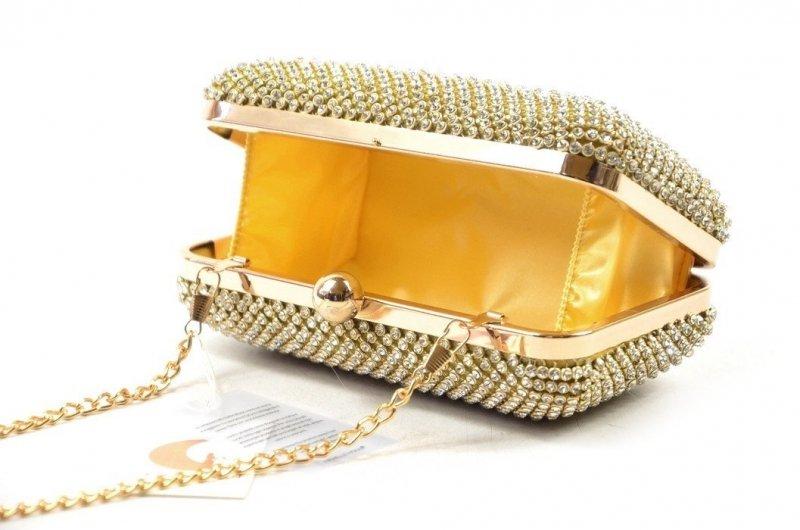 TOREBKA wizytowa kopertówka wieczorowa złota kryształki