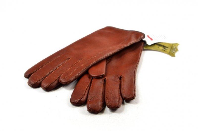 Rękawiczki damskie skórzane brązowe XL