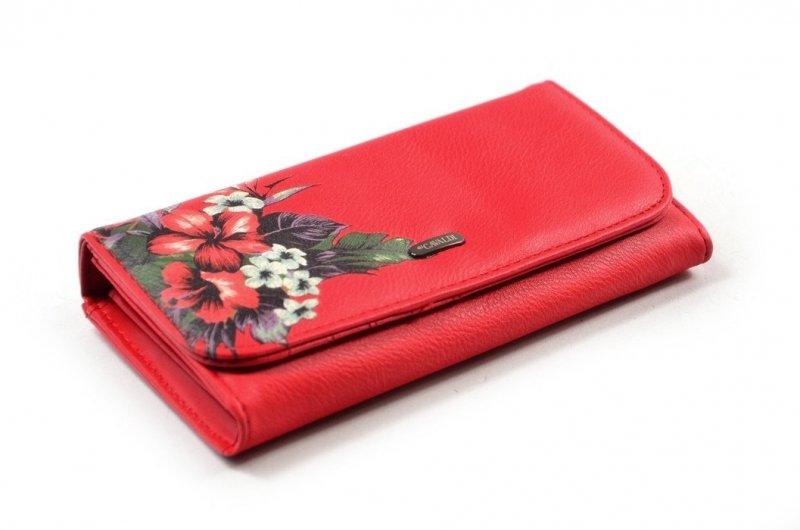 Portfel damski CAVALDI eko-skóra czerwony kwiatki funkcjonalny
