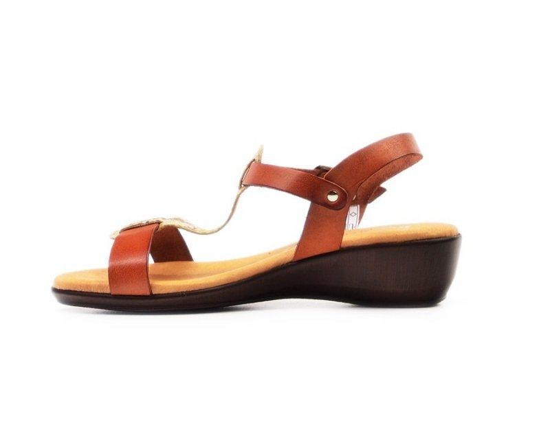 Sandałki 36 EVA FRUTOS 5349 brąz złoto beż wąż