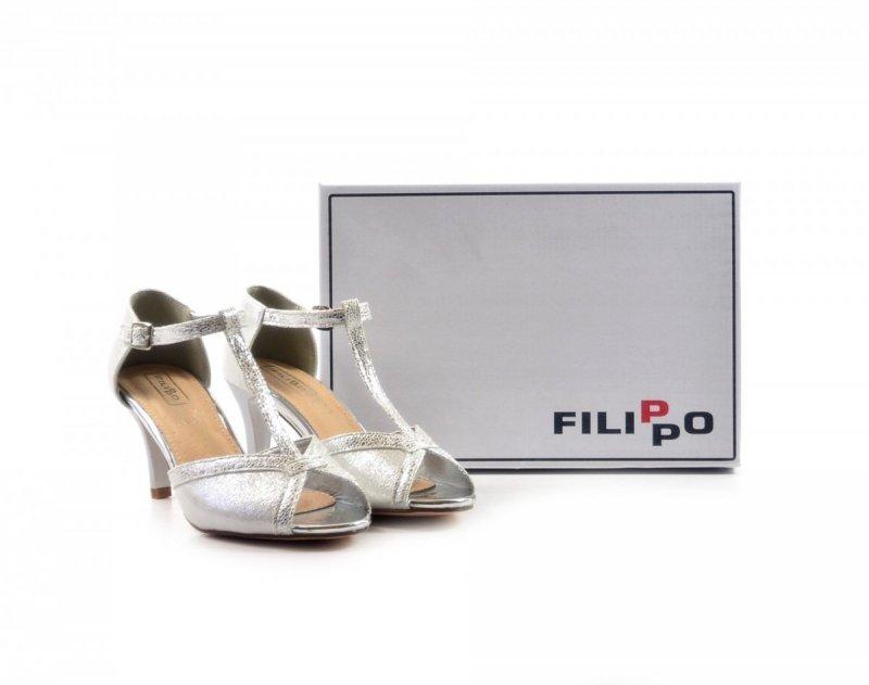 Sandałki 38 szpilki FILIPPO 1360 srebrne