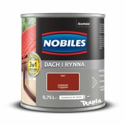 Nobiles Dach Rynna 0,75L CZERWONY TLENKOWY farba na ocynk gruntoemalia