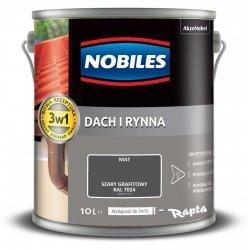 Nobiles Dach Rynna 10L SZARY GRAFITOWY RAL7024 farba na ocynk gruntoemalia