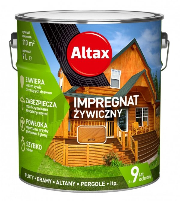 Altax Impregnat 9L PINIA Żywiczny Drewna Szybkoschnący