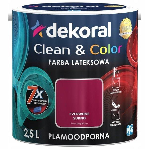 Dekoral CLEAN COLOR 2,5L Czerwone Sukno satynowa farba lateksowa