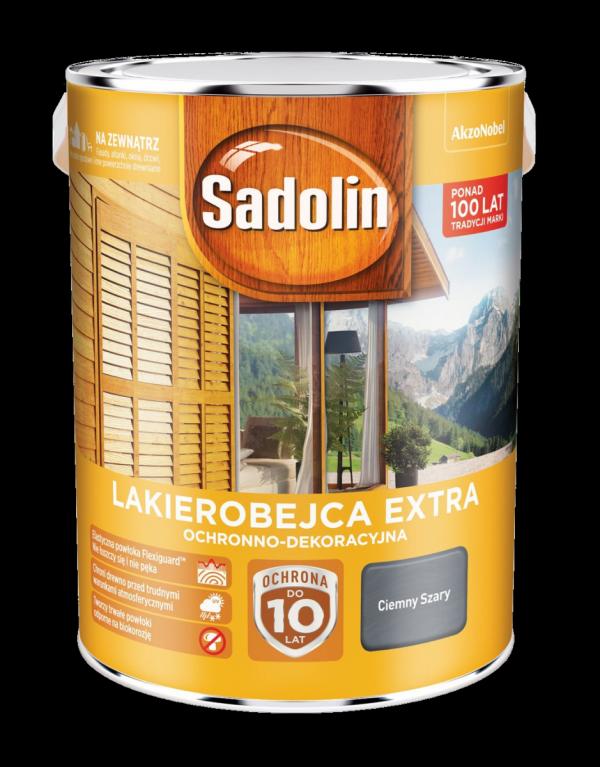 Sadolin Extra lakierobejca 5L SZARY CIEMNY drewna