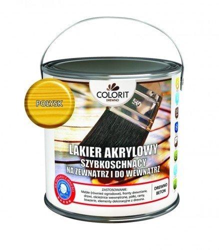 Colorit Lakier Akrylowy Drewna 2,5L POŁYSK BEZBARWNY z filtrami UV do wewnątrz i na zewnątrz nieżółknący