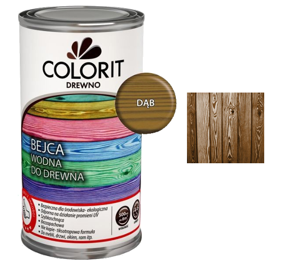 Colorit Bejca Wodna Do Drewna 0,5L DĄB 500ml do