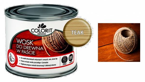 Colorit Wosk Drewna Pasta 0,5L TEAK TIK TEK 500ml Kredowa do