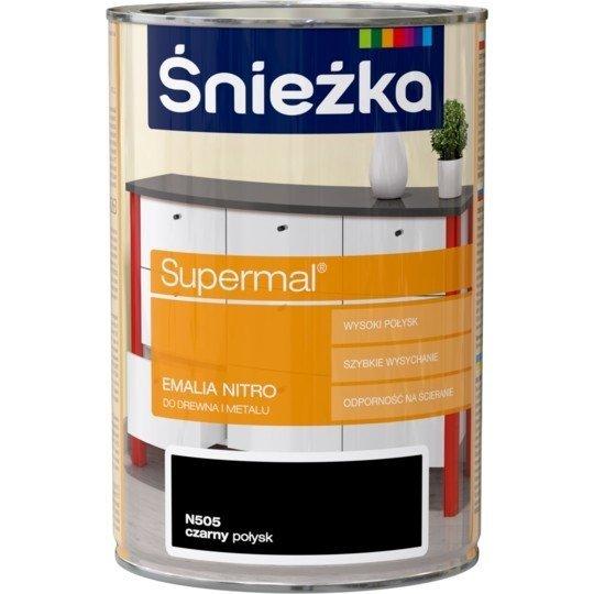 Śnieżka Supermal Emalia Nitro 1L Czarny Połysk N505 farba czarna