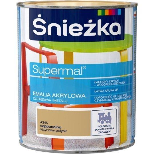 Śnieżka Emalia Akrylowa 0,8L CAPPUCCINO A345 POŁYSK SATYNOWY Farba Supermal