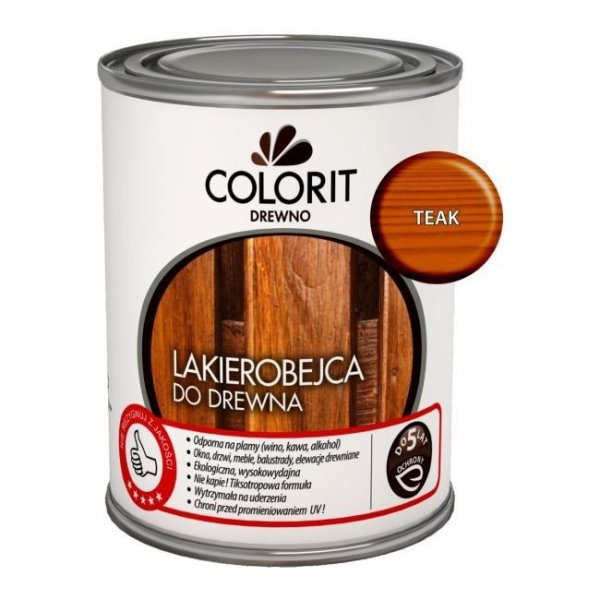Colorit Lakierobejca Drewna 0,75L TEAK TIK TEK szybkoschnąca satynowa farba do