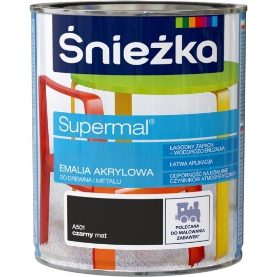 Śnieżka Emalia Akrylowa 0,8L CZARNY A501 MAT Farba czarna Supermal