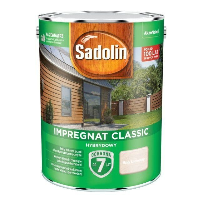 Sadolin Classic impregnat 4,5L BIAŁY KREMOWY 99 drewna clasic