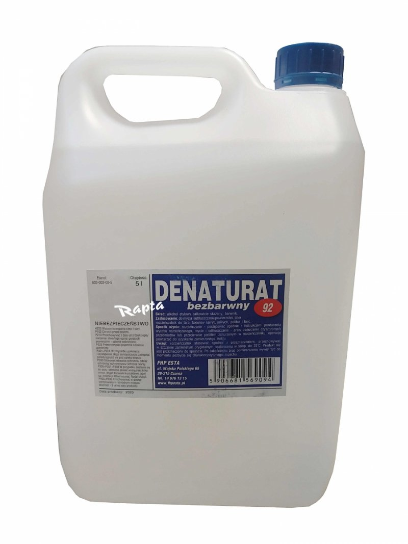 Denaturat 5L BEZBARWNY mocny etylowy 92% etanol ESTA