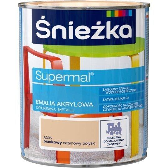 Śnieżka Emalia Akrylowa 0,8L PIASKOWY A305 POŁYSK SATYNOWY Farba Supermal