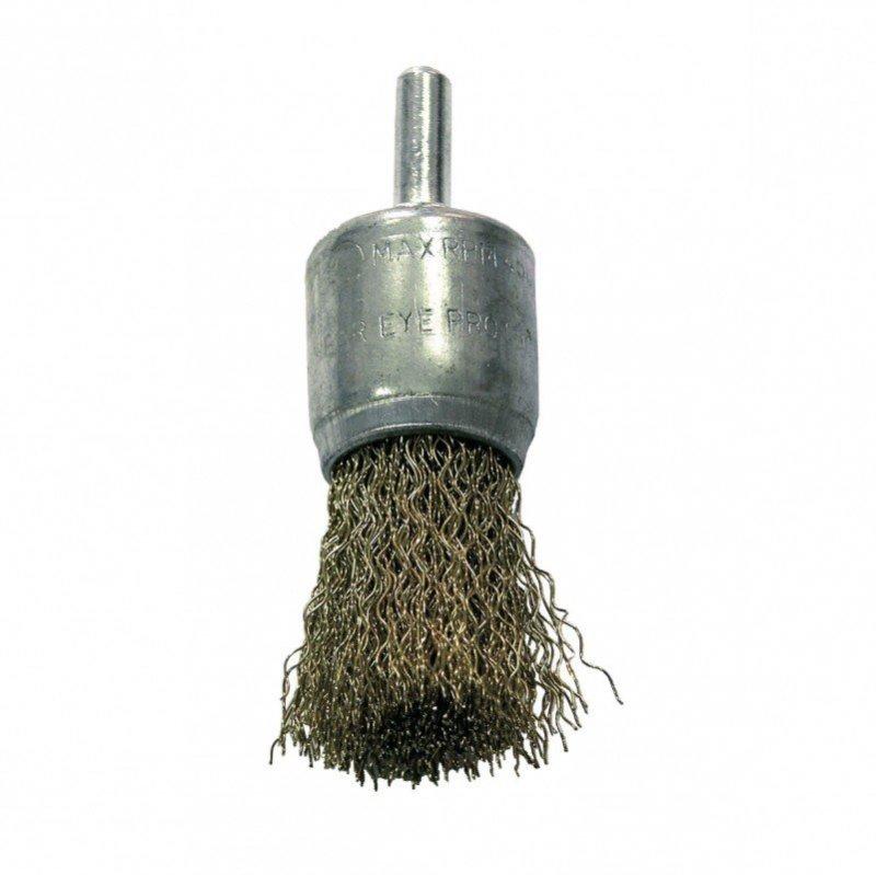 Szczotka druciana pędzelkowa śr. 24mm drut falowany mosiądzowany trzpień 32862 PROLINE