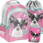 Szkolny Plecak Piesek w Okularach Dziewczęcy Komplet [PTD-181]