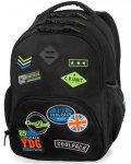 Czarny Plecak CP CoolPack  z Naszywkami Młodzieżowy [B24055]