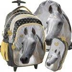 Plecak w Konie Szkolny  na Kółkach Dziewczęcy Zestaw [PP19H-997]