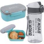 Zestaw Śniadaniowy Bidon Śniadaniówka Free BPA Turkusowy [SB4B38]
