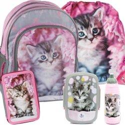 Plecak Szkolny Kot z Kotkiem dla Dziewczynki Różowy Zestaw  [RAM-090]