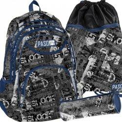 Plecak Chłopięcy Młodzieżowy Szary Gazety Paso [PPME19-2708/16]