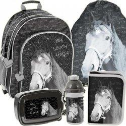 Modny Plecak Szkolny Zwierzak Koń dla Dziewczynki Zestaw [PP19KO-090]