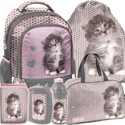 Szkolny Plecak dla Uczennicy Kot Kotek Szary [RLD-260]