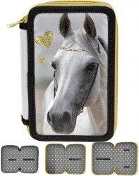 Piórnik Szkolny Koń Konie 3-Komorowy dla Dziewczynki [PP19H-023BW]