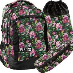 Plecak Młodzieżowy Szkolny Zestaw Kwiaty Kolorowe [PPLK19-2808]