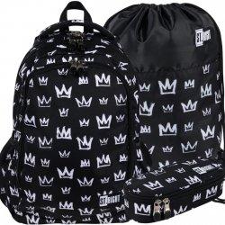 Czarny Plecak w Korony dla Uczniów St.Right Majewski CROWNS [BP57]
