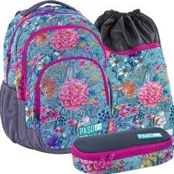 Piękny Plecak Młodzieżowy w Kwiaty Zestaw [18-2706EW]